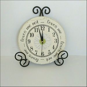 Slate Ornate Wall Clock Loves Me ... Loves Me Not